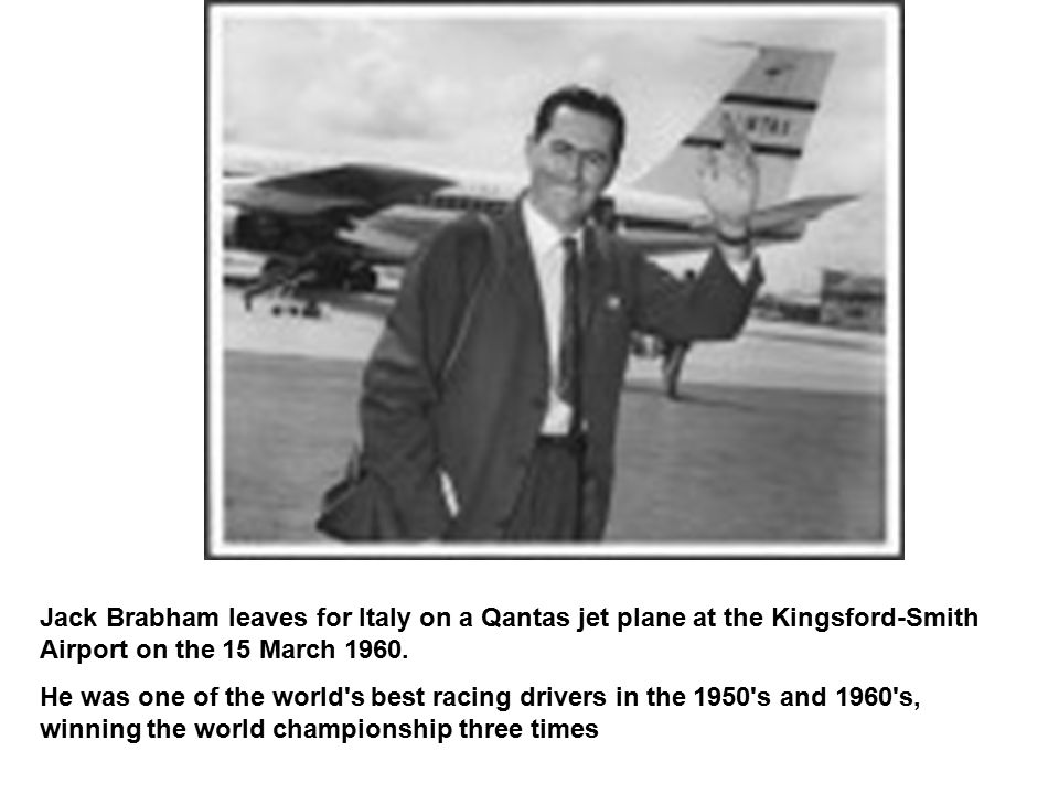 Jack Brabham leaves for Italy on a Qantas jet plane at the Kingsford-Smith Airport on the 15 March 1960. He was one of the world's best racing drivers