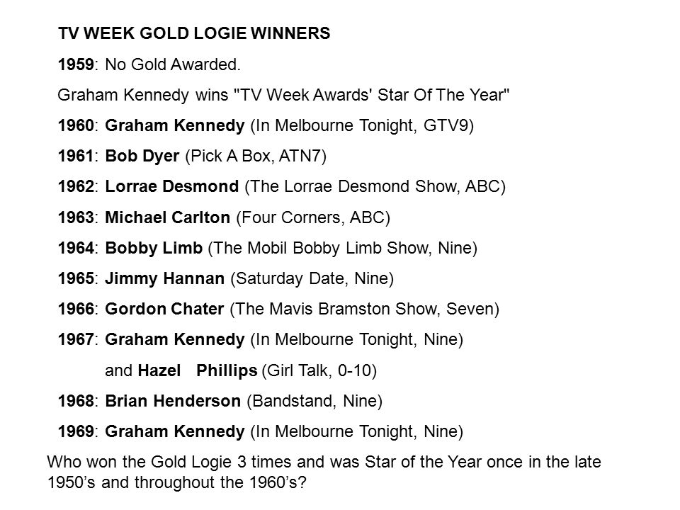 TV WEEK GOLD LOGIE WINNERS 1959: No Gold Awarded.