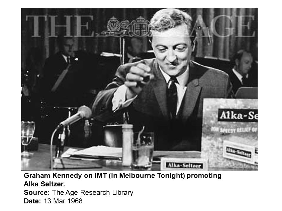 Graham Kennedy on IMT (In Melbourne Tonight) promoting Alka Seltzer.