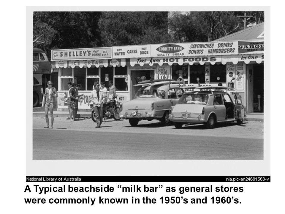 A Typical beachside milk bar as general stores were commonly known in the 1950's and 1960's.