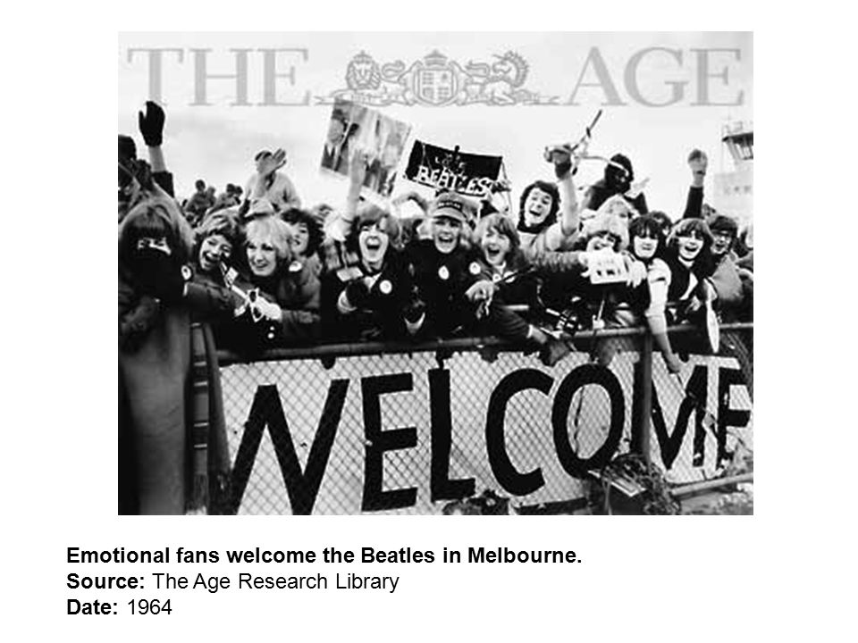 Emotional fans welcome the Beatles in Melbourne. Source: The Age Research Library Date: 1964