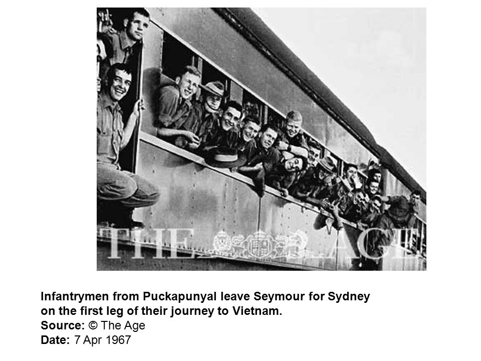 Infantrymen from Puckapunyal leave Seymour for Sydney on the first leg of their journey to Vietnam.