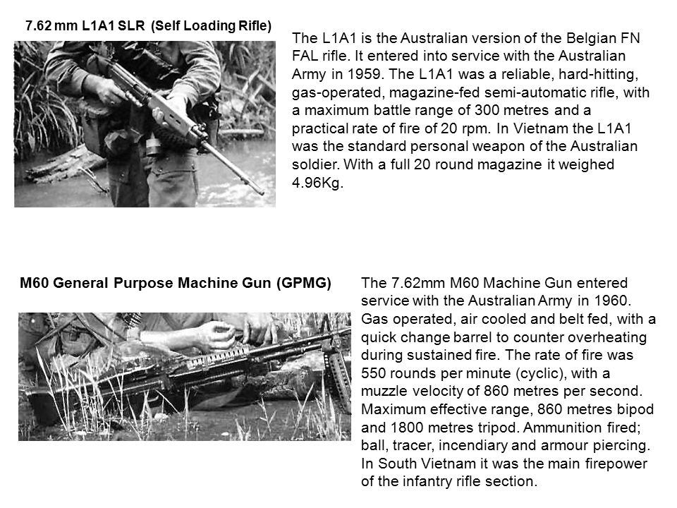 The L1A1 is the Australian version of the Belgian FN FAL rifle.