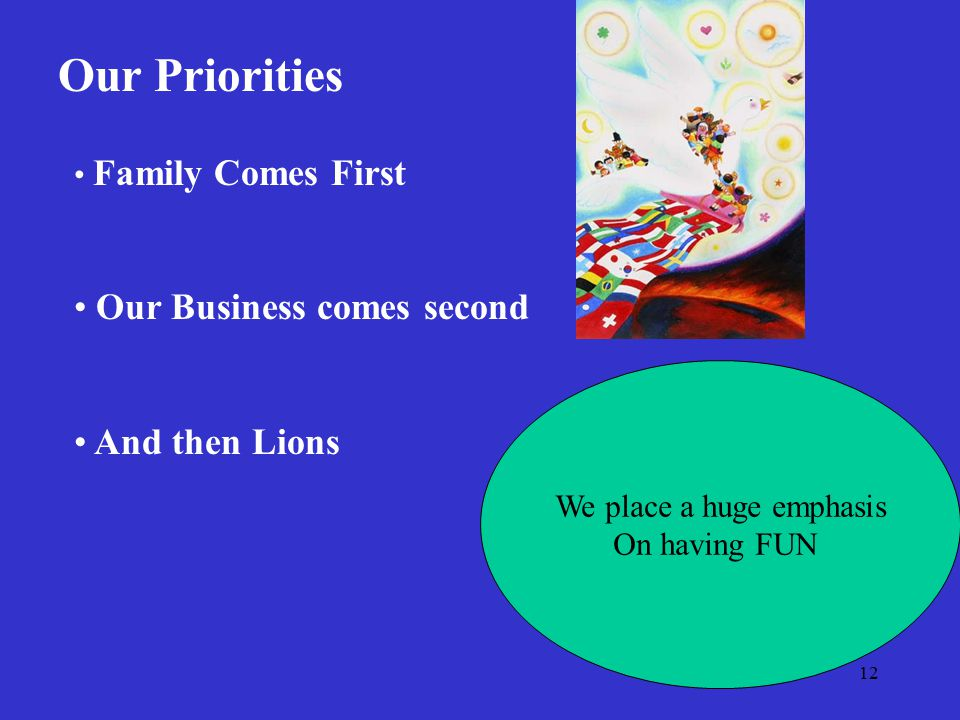 12 Our Priorities Family Comes First Our Business comes second And then Lions We place a huge emphasis On having FUN