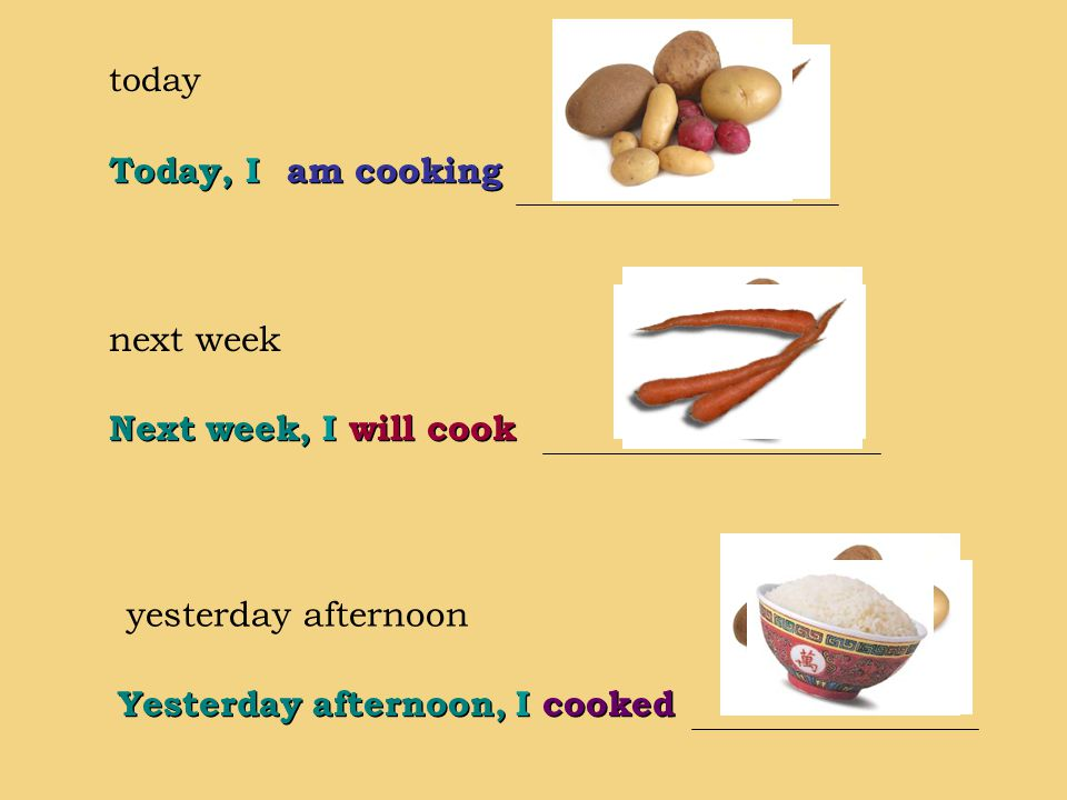 today next week yesterday afternoon am cooking Today, I Yesterday afternoon, I cooked Next week, I will cook