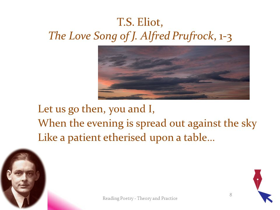 Let us go then, you and I, When the evening is spread out against the sky Like a patient etherised upon a table...