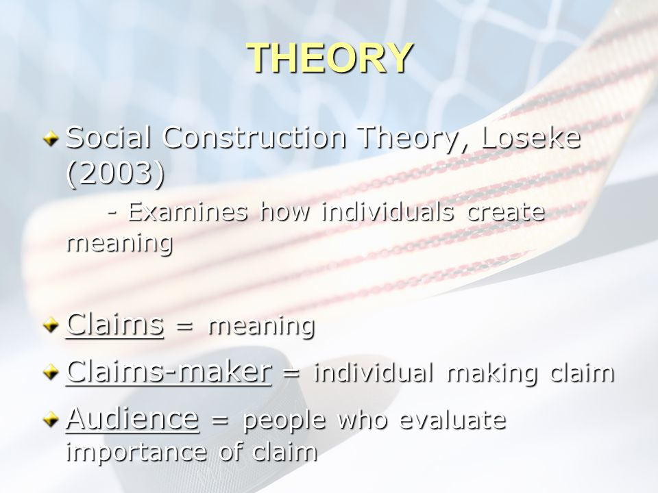 THEORY Social Construction Theory, Loseke (2003) - Examines how individuals create meaning Claims = meaning Claims-maker = individual making claim Aud