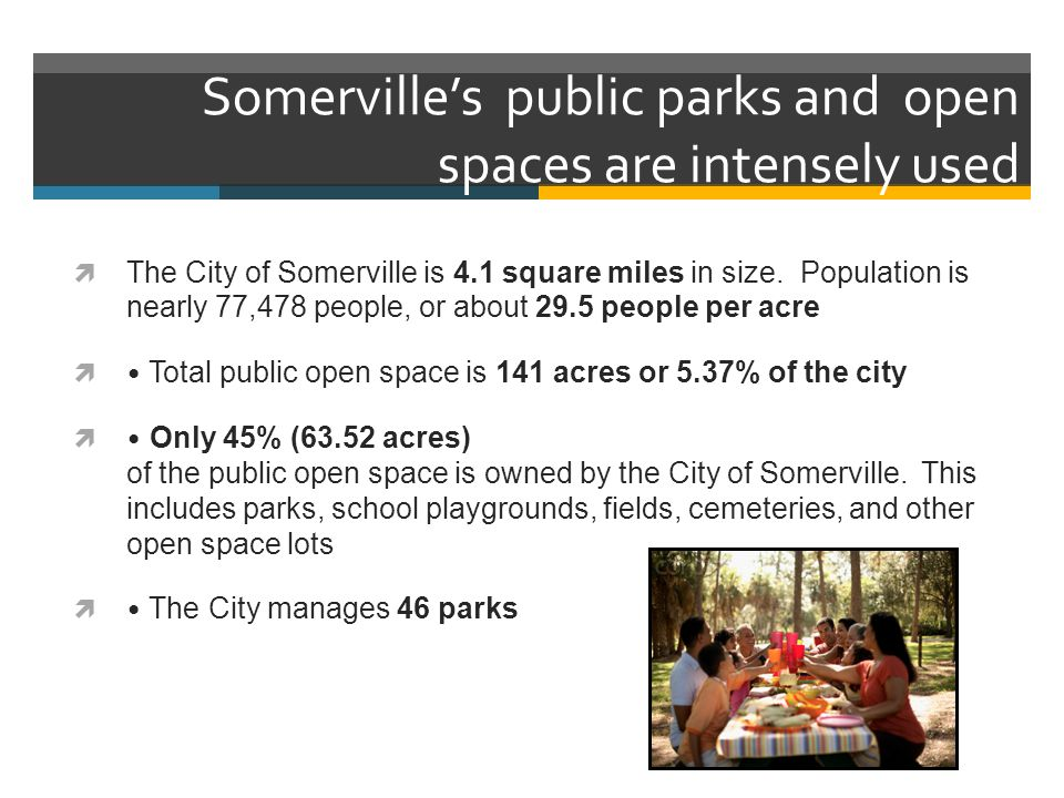 Somerville's public parks and open spaces are intensely used  The City of Somerville is 4.1 square miles in size.