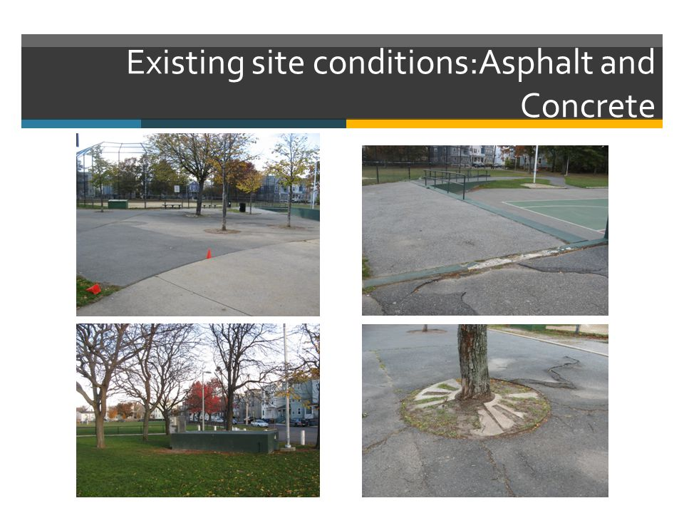 Existing site conditions:Asphalt and Concrete