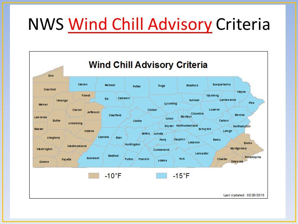 NWS Wind Chill Advisory Criteria