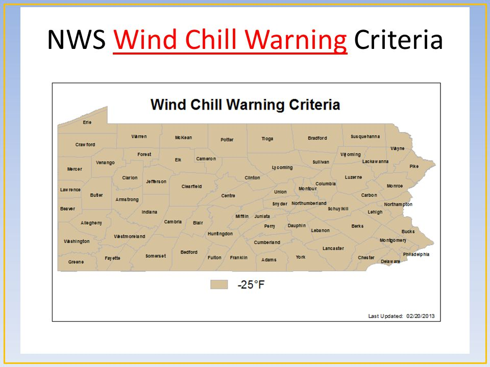 NWS Wind Chill Warning Criteria