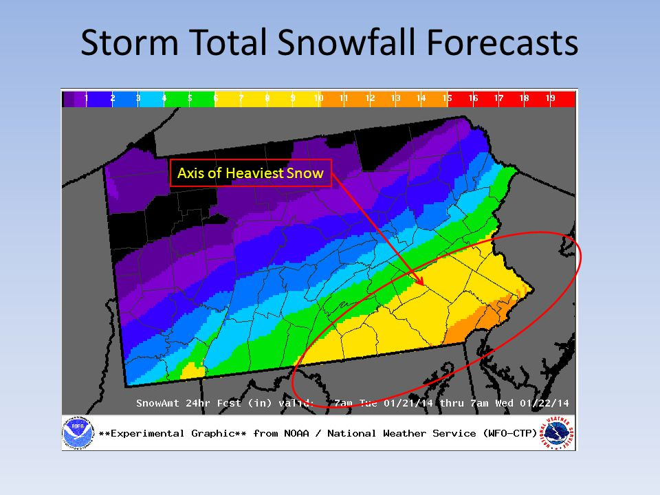 Storm Total Snowfall Forecasts Axis of Heaviest Snow