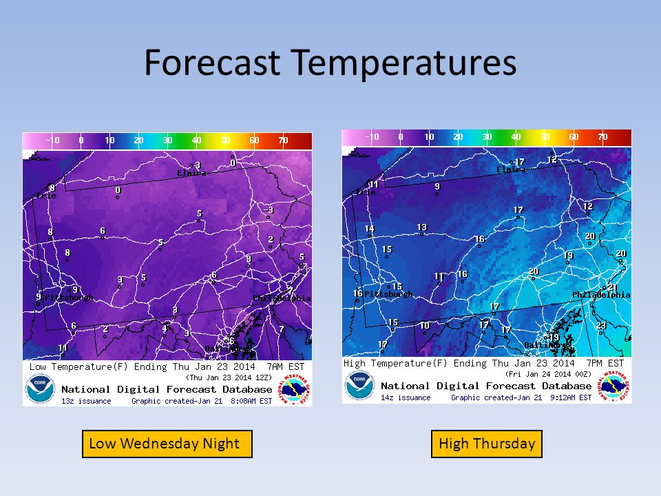 Forecast Temperatures Low Wednesday NightHigh Thursday