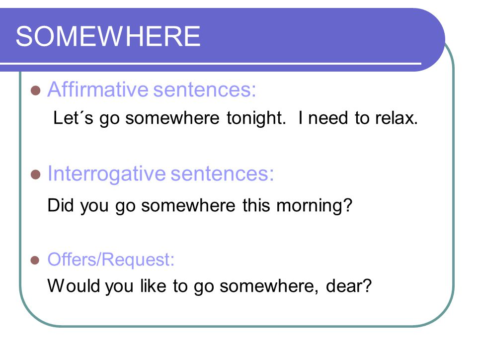 ANYWHERE Interrogative sentences: Do you go anywhere in the afternoons.