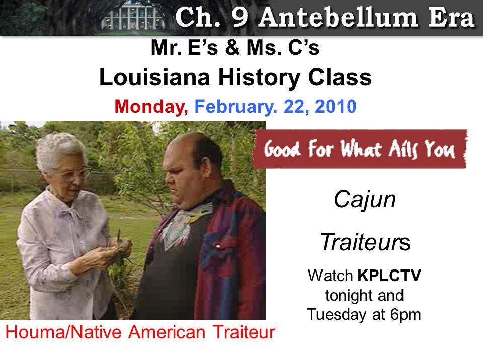 Cajun Traiteurs Watch KPLCTV tonight and Tuesday at 6pm Mr.