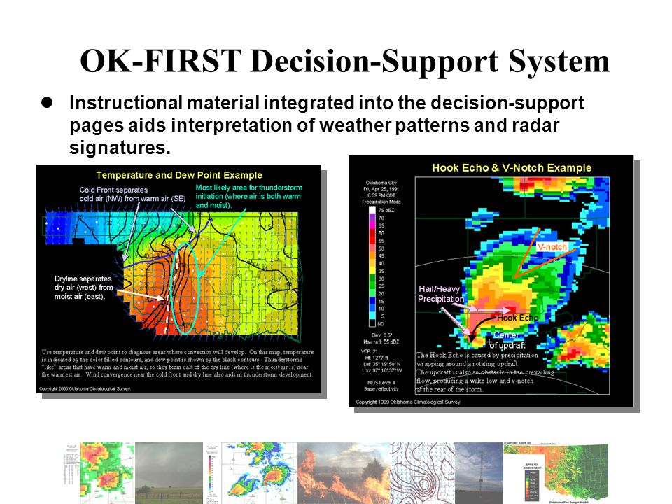 OK-FIRST Decision-Support System Instructional material integrated into the decision-support pages aids interpretation of weather patterns and radar signatures.
