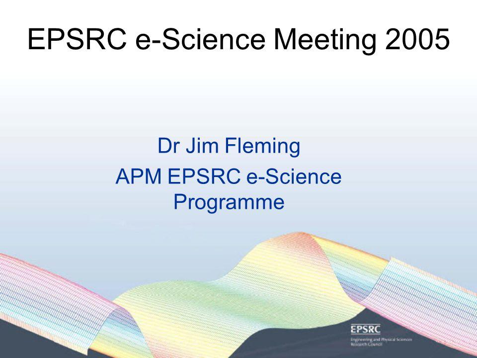 EPSRC e-Science Meeting 2005 Dr Jim Fleming APM EPSRC e-Science Programme
