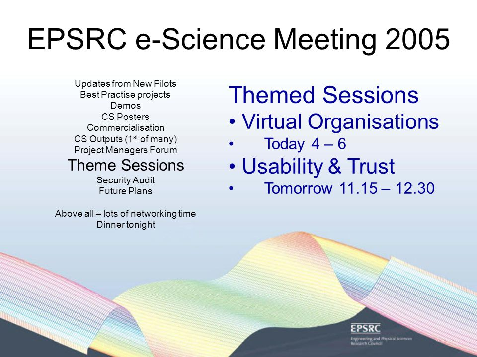 EPSRC e-Science Meeting 2005 Updates from New Pilots Best Practise projects Demos CS Posters Commercialisation CS Outputs (1 st of many) Project Managers Forum Theme Sessions Security Audit Future Plans Above all – lots of networking time Dinner tonight Themed Sessions Virtual Organisations Today 4 – 6 Usability & Trust Tomorrow 11.15 – 12.30