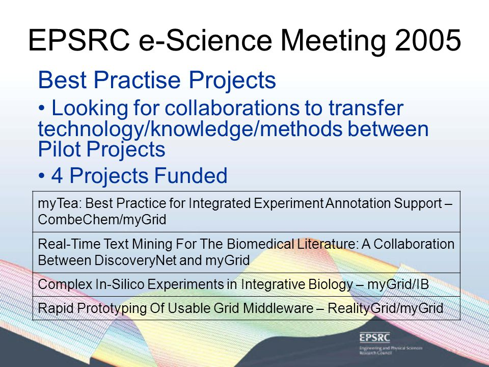 EPSRC e-Science Meeting 2005 Best Practise Projects Looking for collaborations to transfer technology/knowledge/methods between Pilot Projects 4 Projects Funded myTea: Best Practice for Integrated Experiment Annotation Support – CombeChem/myGrid Real-Time Text Mining For The Biomedical Literature: A Collaboration Between DiscoveryNet and myGrid Complex In-Silico Experiments in Integrative Biology – myGrid/IB Rapid Prototyping Of Usable Grid Middleware – RealityGrid/myGrid
