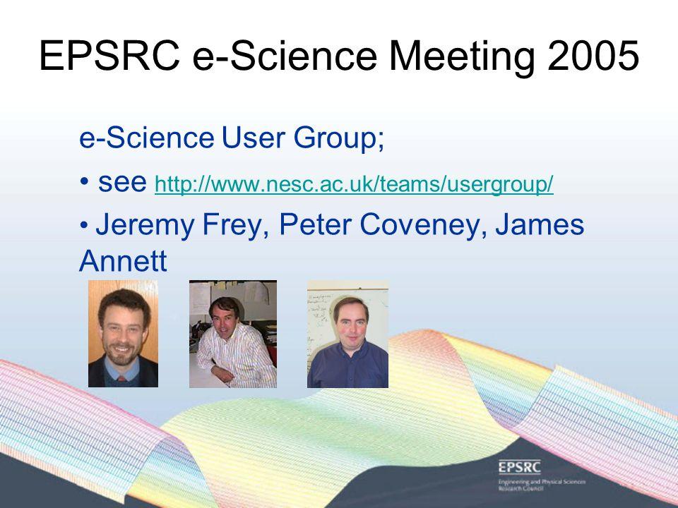 EPSRC e-Science Meeting 2005 e-Science User Group; see http://www.nesc.ac.uk/teams/usergroup/ http://www.nesc.ac.uk/teams/usergroup/ Jeremy Frey, Peter Coveney, James Annett