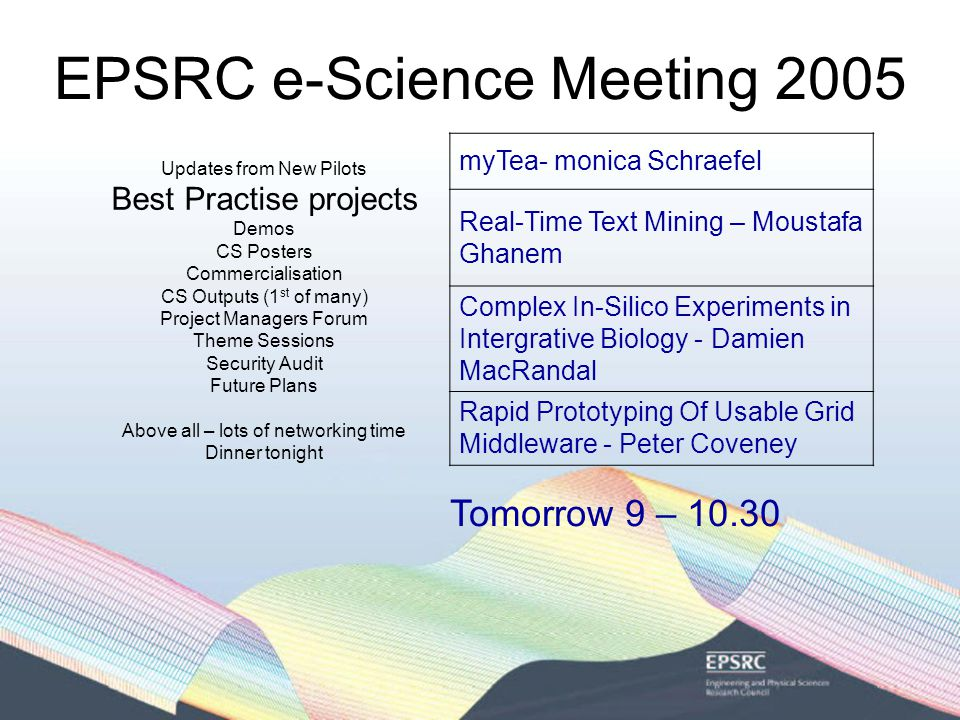 EPSRC e-Science Meeting 2005 Activities since 2004 Meeting