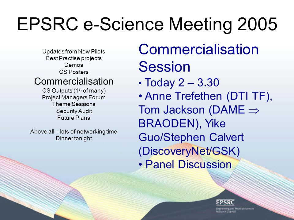 EPSRC e-Science Meeting 2005 2 nd CS for e-Science Call Emphasis on more long-term CS for e- Science £4M grants 10 grants Starting Jul – Oct 2005 For more details see http://www.epsrc.ac.uk/ResearchFunding/Programmes/e- Science/ComputerScienceForeScience/default.htm