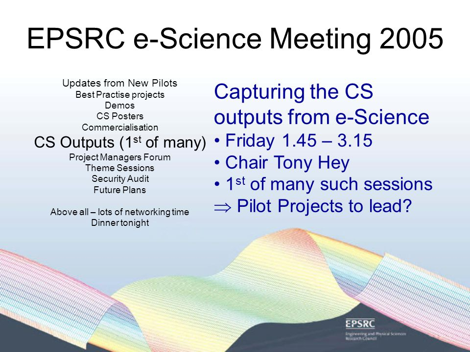 EPSRC e-Science Meeting 2005 Updates from New Pilots Best Practise projects Demos CS Posters Commercialisation CS Outputs (1 st of many) Project Managers Forum Theme Sessions Security Audit Future Plans Above all – lots of networking time Dinner tonight Project Managers Forum Friday 11.15 – 12.45 Dean Room Lead by Tom Jackson & Sharon Lloyd Aimed primarily at Pilot Projects Looking at developing some advice on Best Practice for e- Science/Consortia