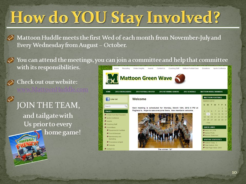 Mattoon Huddle meets the first Wed of each month from November-July and Every Wednesday from August – October.