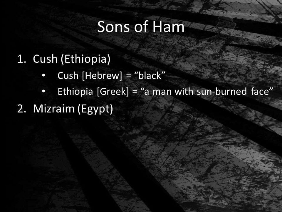 Sons of Ham 1.Cush (Ethiopia) Cush [Hebrew] = black Ethiopia [Greek] = a man with sun-burned face 2.Mizraim (Egypt)