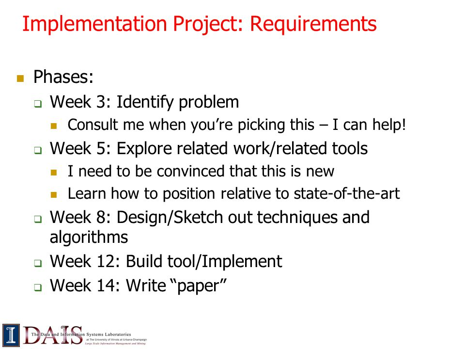 Implementation Project: Requirements Phases:  Week 3: Identify problem Consult me when you're picking this – I can help.