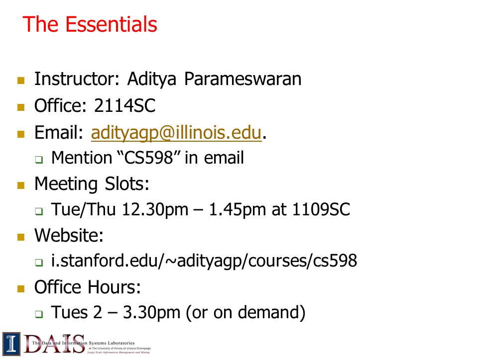 The Essentials Prerequisites:  Basic algorithms and probability  A database course of some form At a high level, you should be familiar with topics such as (or be willing to pick them up)  Relational algebra and SQL  Semi-structured data  Query processing and optimization  Data warehousing and data cubes
