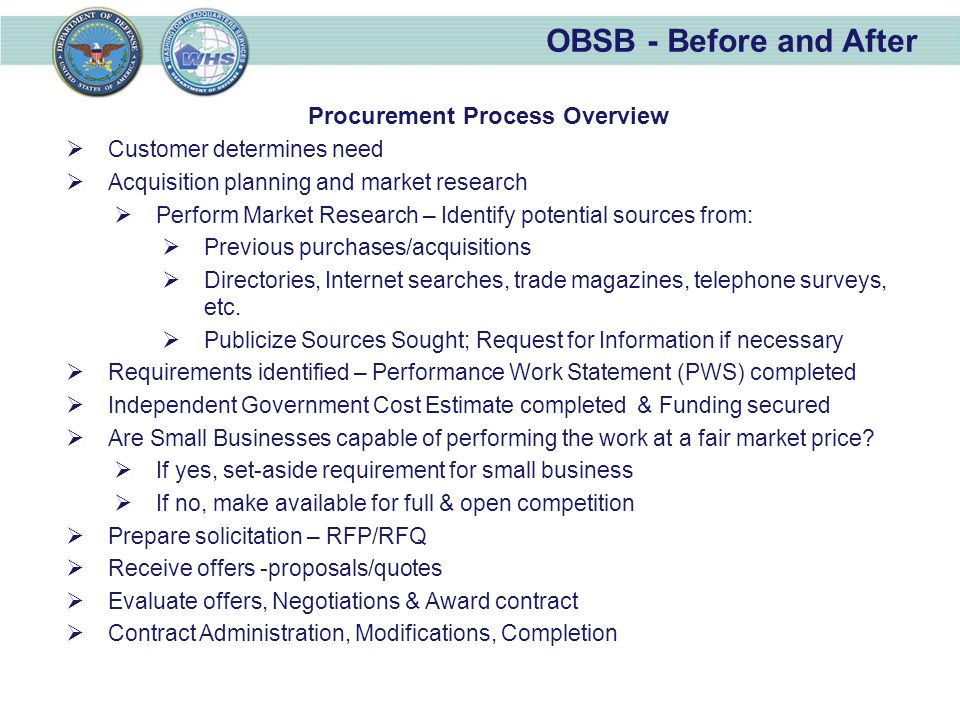 OBSB - Before and After Procurement Process Overview  Customer determines need  Acquisition planning and market research  Perform Market Research – Identify potential sources from:  Previous purchases/acquisitions  Directories, Internet searches, trade magazines, telephone surveys, etc.