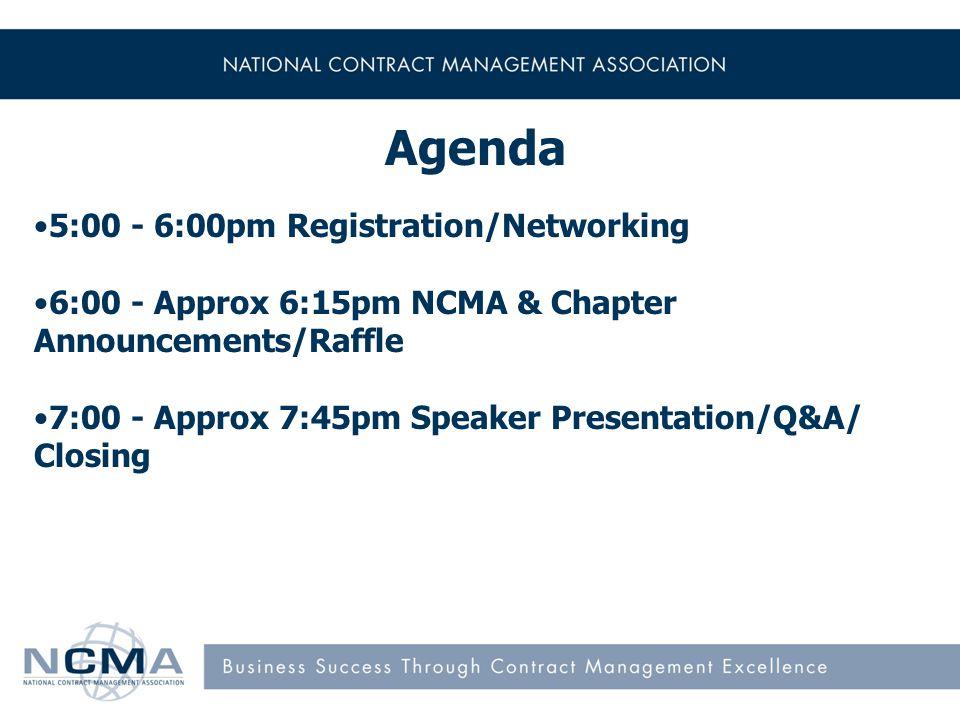 Welcome, NCMA & Chapter Announcements Ms. Rena Clark President, NCMA-Pentagon