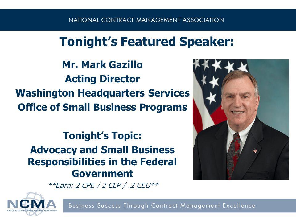 Tonight's Featured Speaker: Mr.