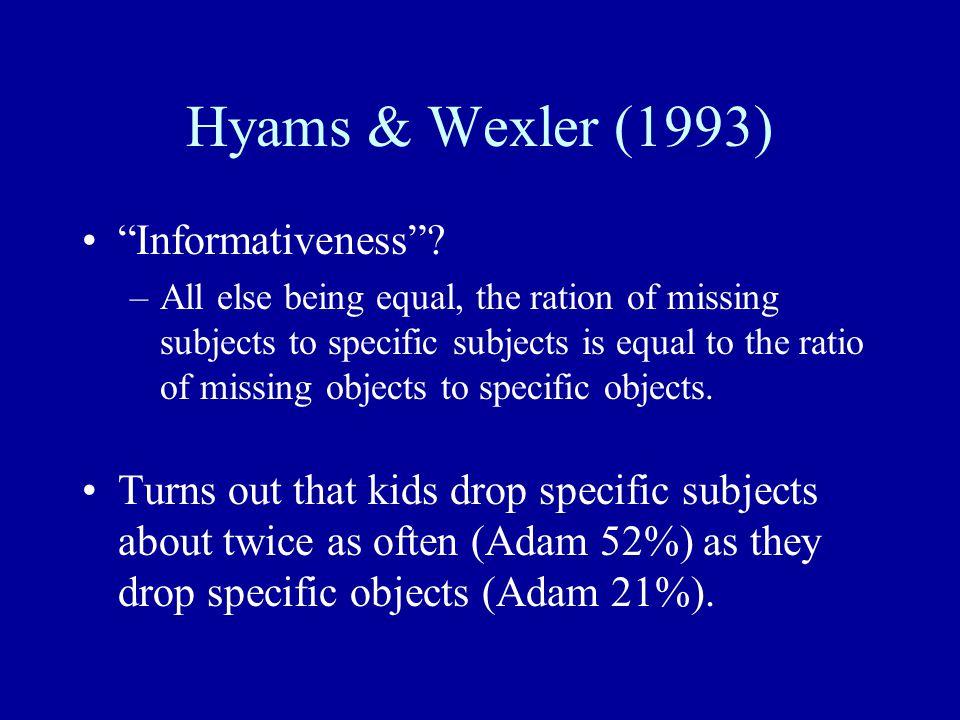 Hyams & Wexler (1993) Informativeness .