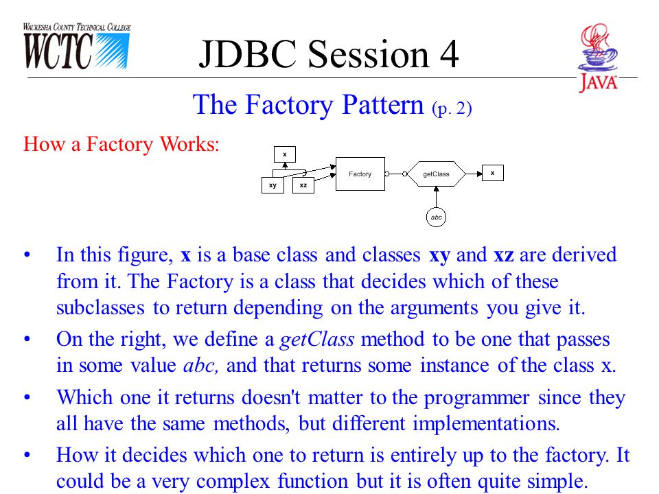JDBC Session 4 How a Factory Works: In this figure, x is a base class and classes xy and xz are derived from it. The Factory is a class that decides w