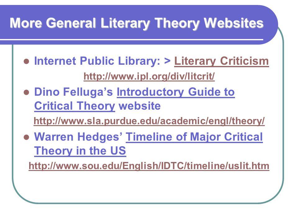 More General Literary Theory Websites Internet Public Library: > Literary CriticismLiterary Criticism http://www.ipl.org/div/litcrit/ Dino Felluga's I