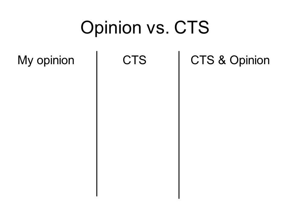 Opinion vs. CTS My opinion CTS CTS & Opinion