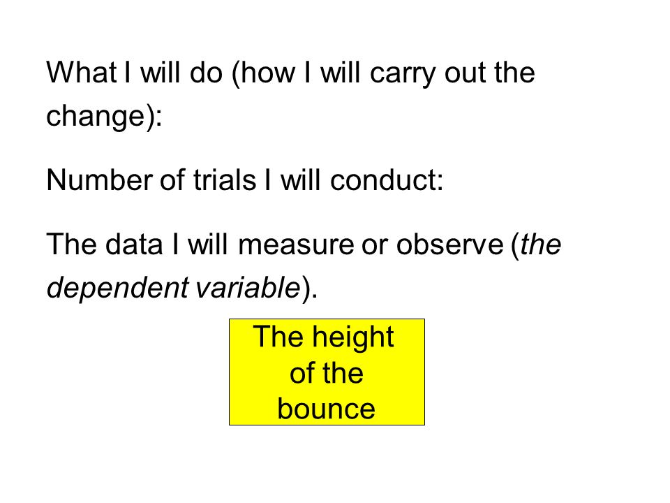 What I will do (how I will carry out the change): Number of trials I will conduct: The data I will measure or observe (the dependent variable).