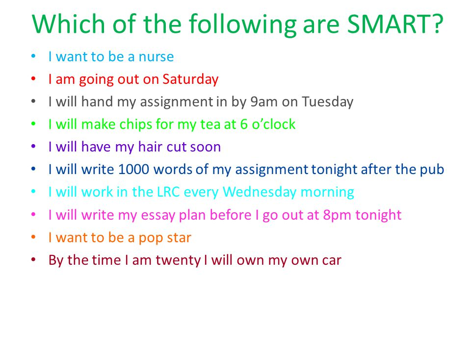 Which of the following are SMART.