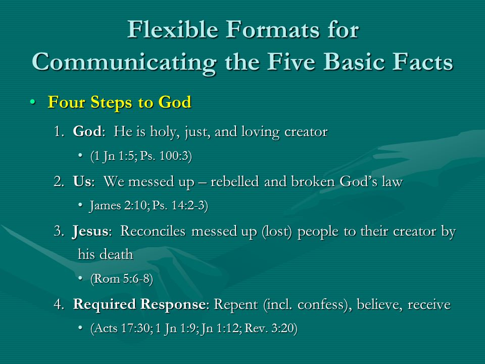 Flexible Formats for Communicating the Five Basic Facts Four Steps to GodFour Steps to God 1.