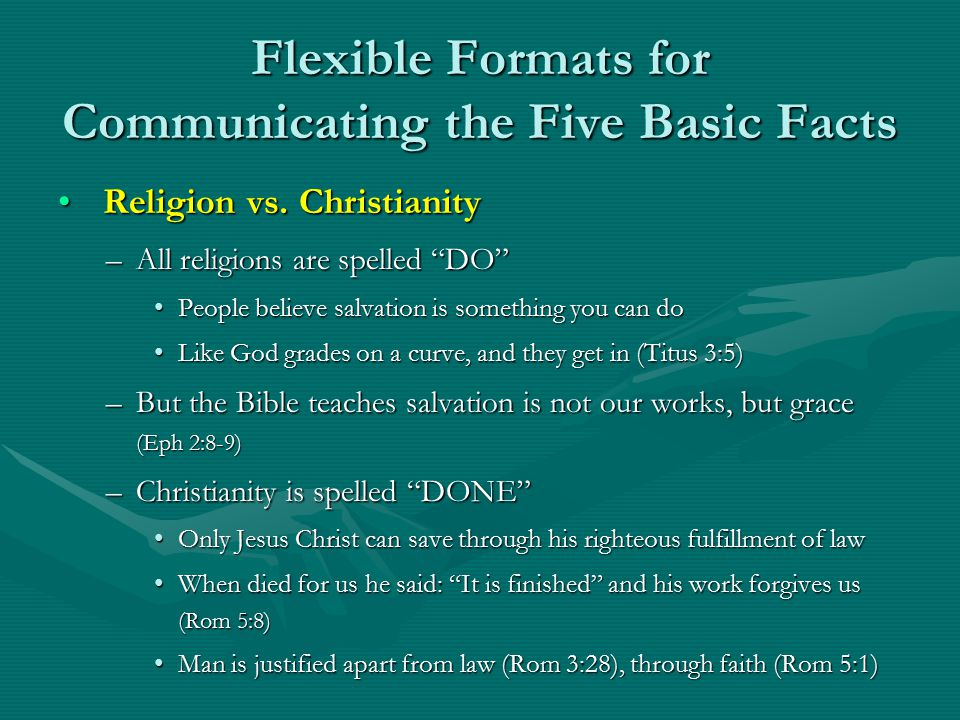 Flexible Formats for Communicating the Five Basic Facts Religion vs.