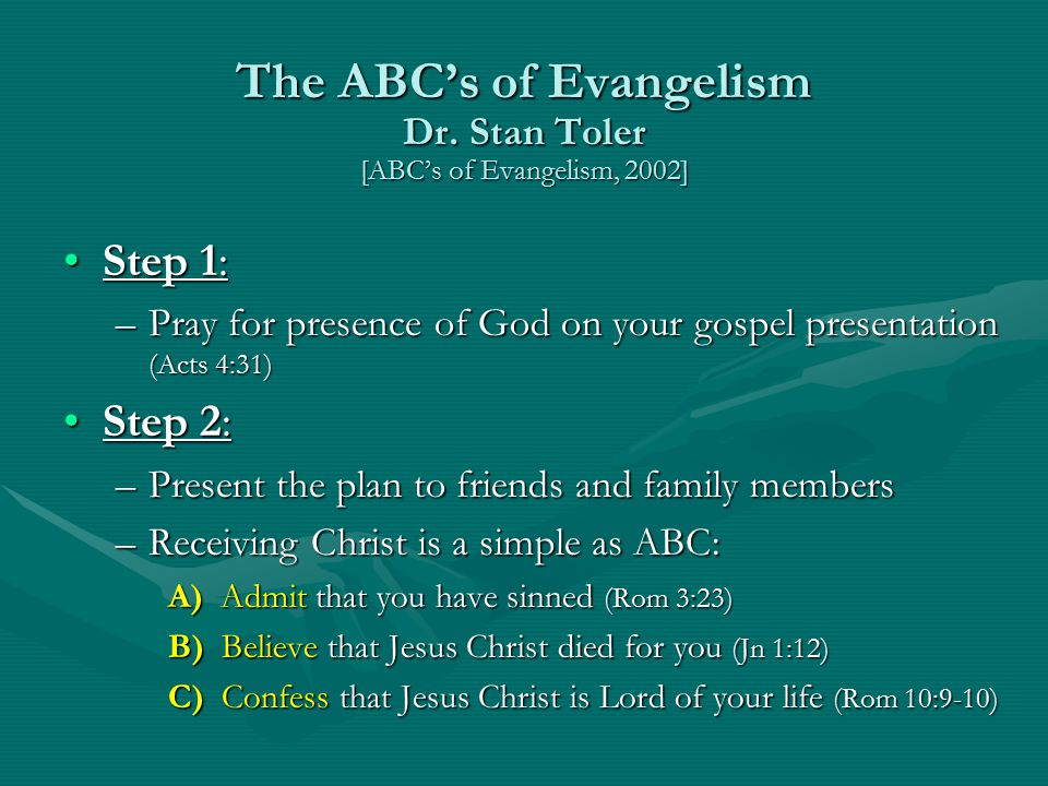 The ABC's of Evangelism Dr.