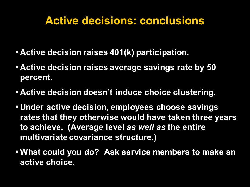 Active decisions: conclusions  Active decision raises 401(k) participation.