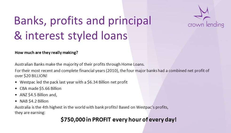 Banks, profits and principal & interest styled loans How much are they really making.