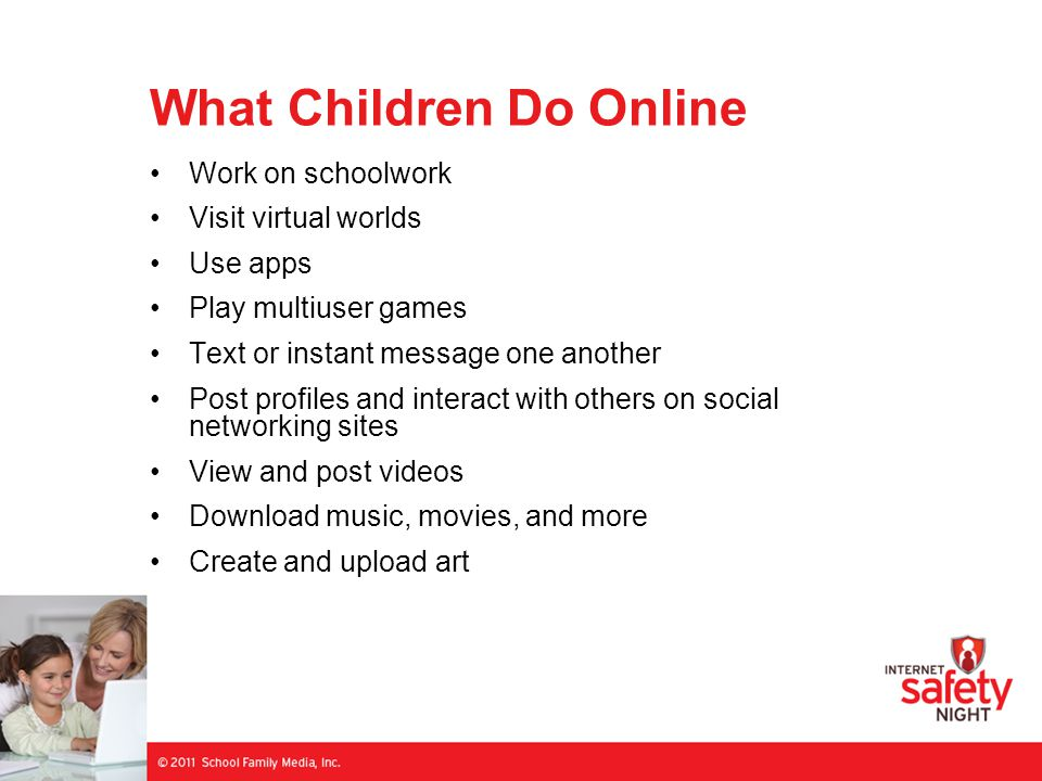 What Children Do Online Work on schoolwork Visit virtual worlds Use apps Play multiuser games Text or instant message one another Post profiles and interact with others on social networking sites View and post videos Download music, movies, and more Create and upload art