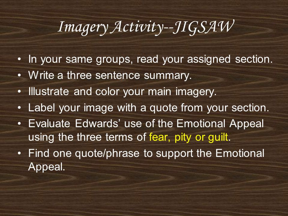 Imagery Activity--JIGSAW In your same groups, read your assigned section.