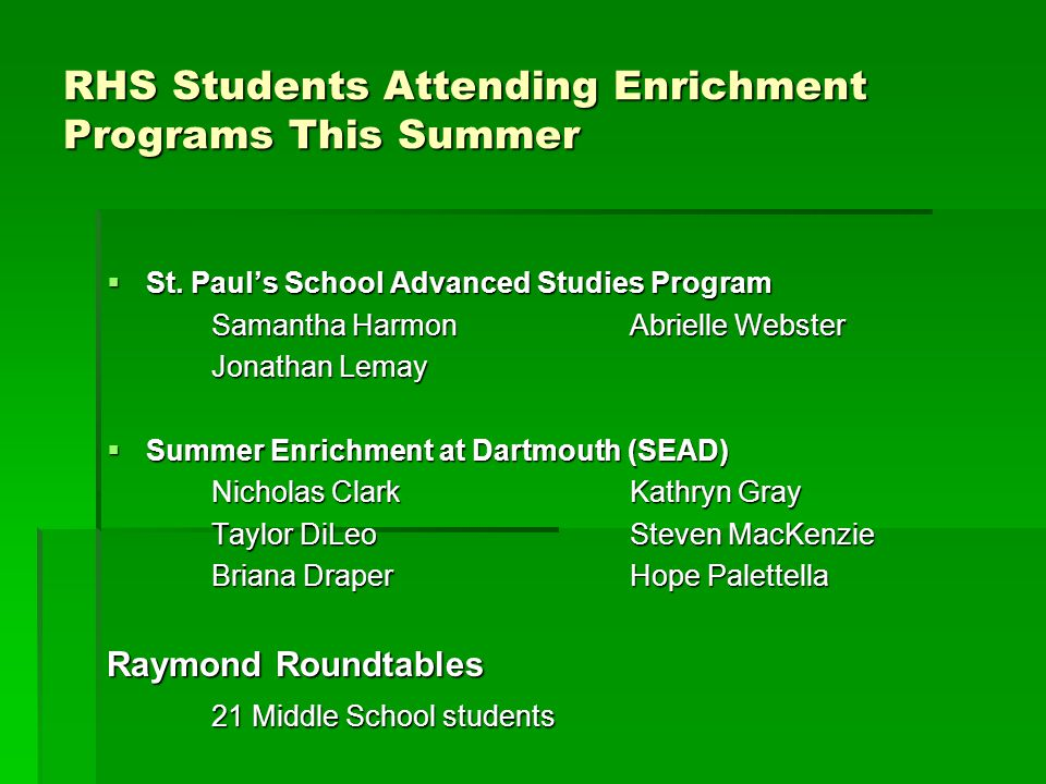 RHS Students Attending Enrichment Programs This Summer  St.