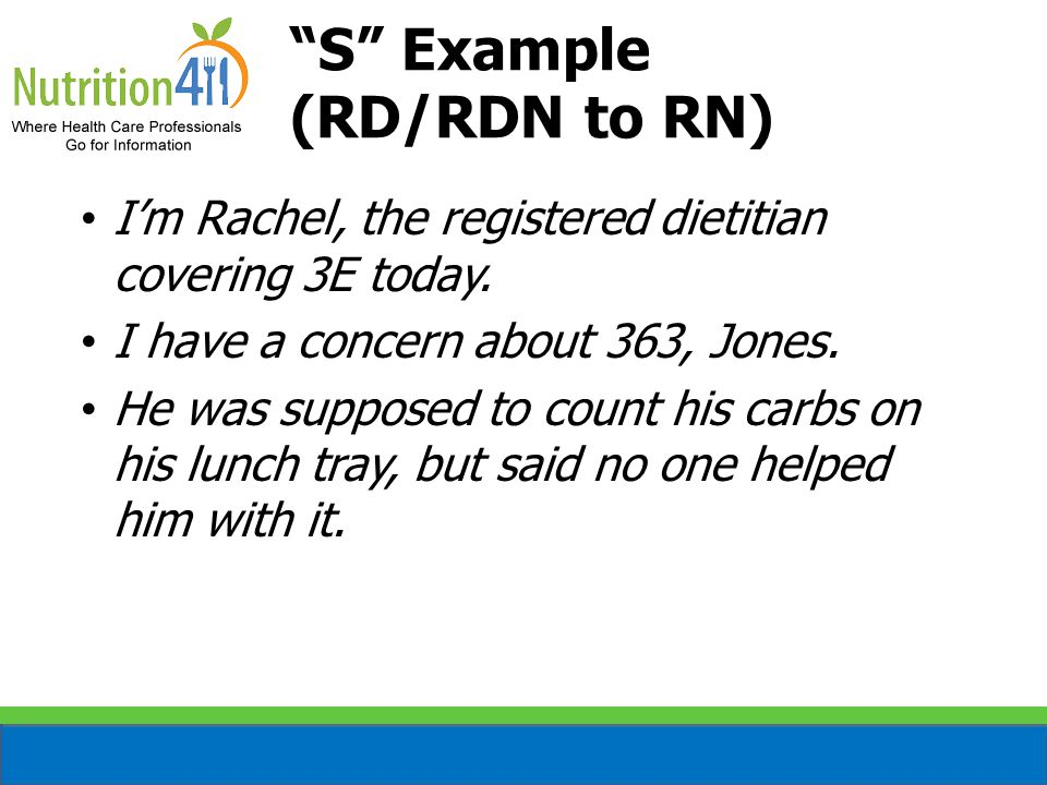 I'm Rachel, the registered dietitian covering 3E today.