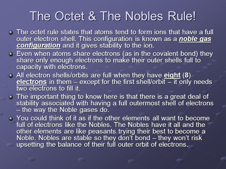 The Octet & The Nobles Rule.